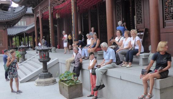 Toeristische groep in China (rondreis), oktober 2018.